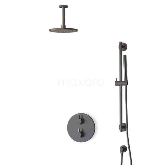 Inbouw Regendoucheset Radius Black Steel, Thermostaatkraan, 20cm Hoofddouche, Zwart Metaal BIM55-00064
