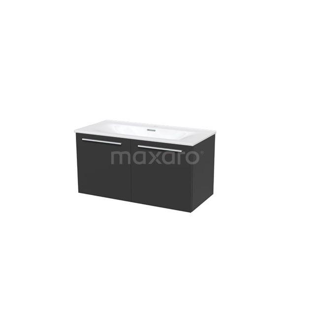 Badkamermeubel 100cm Box Zwart 2 Deuren Vlak Wastafel Keramiek BMA007307