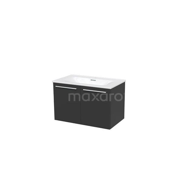 Badkamermeubel 80cm Box Zwart 2 Deuren Vlak Wastafel Keramiek BMA007308