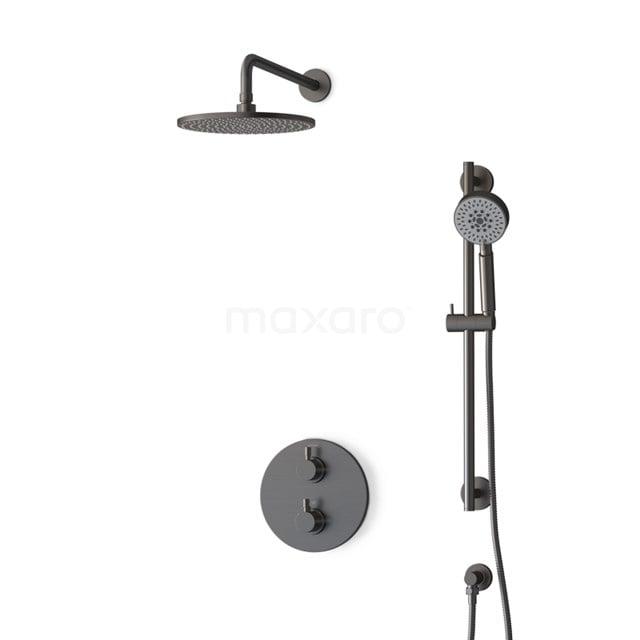 Inbouw Regendoucheset Radius Black Steel, Thermostaatkraan, 25cm Hoofddouche, Zwart Metaal BIM55-00130