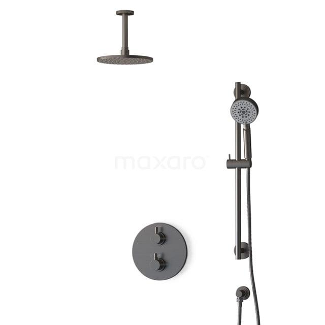 Inbouw Regendoucheset Radius Black Steel, Thermostaatkraan, 20cm Hoofddouche, Zwart Metaal BIM55-00136
