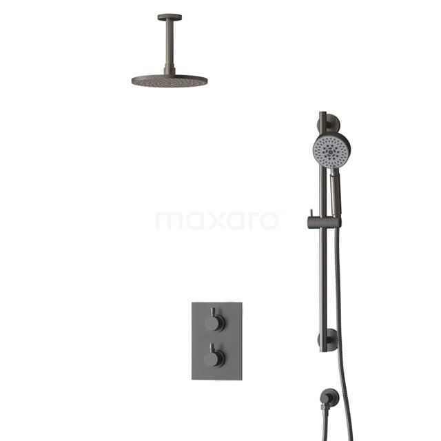 Inbouw Regendoucheset Radius Black Steel, Thermostaatkraan, 20cm Hoofddouche, Zwart Metaal BIM55-00137