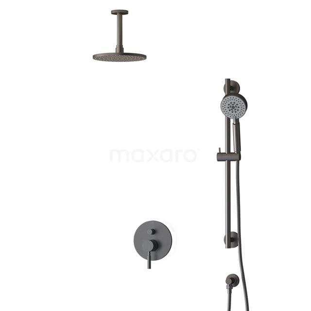 Inbouw Regendoucheset Radius Black Steel, Eéngreeps Mengkraan, 20cm Hoofddouche, Zwart Metaal BIM55-00138