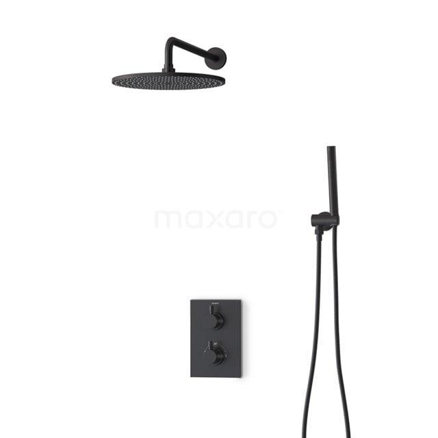 Inbouw Regendoucheset Radius Black, Thermostaatkraan, 30cm Hoofddouche, Zwart BIZ55-00121