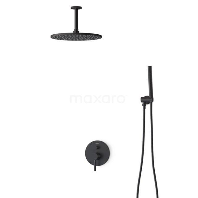Inbouw Regendoucheset Radius Black, Eéngreeps Mengkraan, 30cm Hoofddouche, Zwart BIZ55-00126