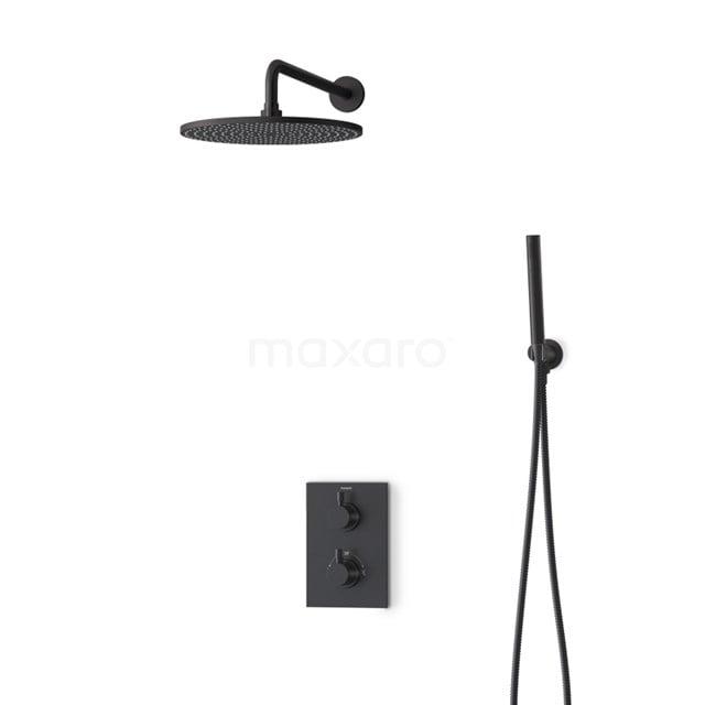 Inbouw Regendoucheset Radius Black, Thermostaatkraan, 30cm Hoofddouche, Zwart BIZ55-00127