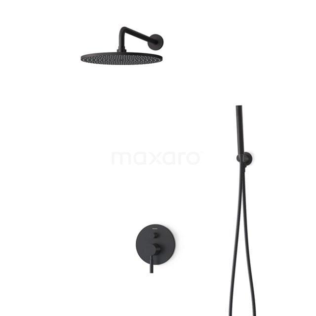 Inbouw Regendoucheset Radius Black, Eéngreeps Mengkraan, 30cm Hoofddouche, Zwart BIZ55-00129
