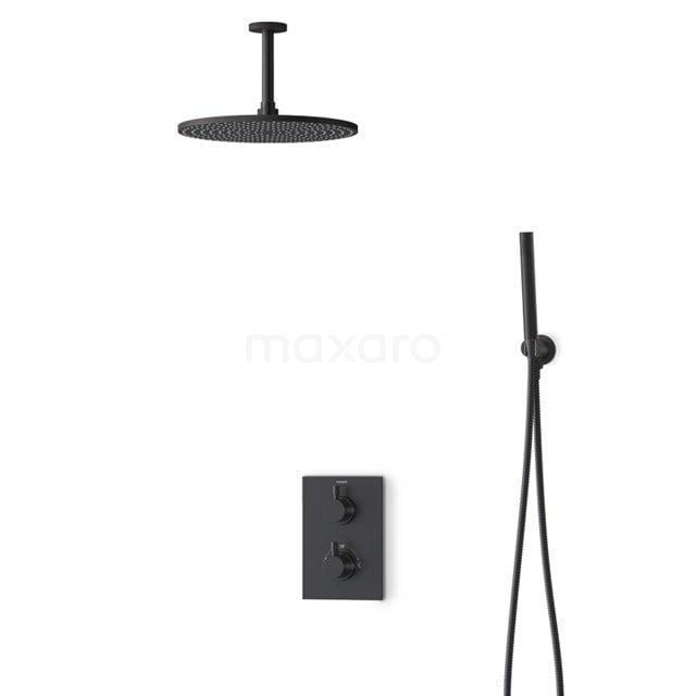 Inbouw Regendoucheset Radius Black, Thermostaatkraan, 30cm Hoofddouche, Zwart BIZ55-00130