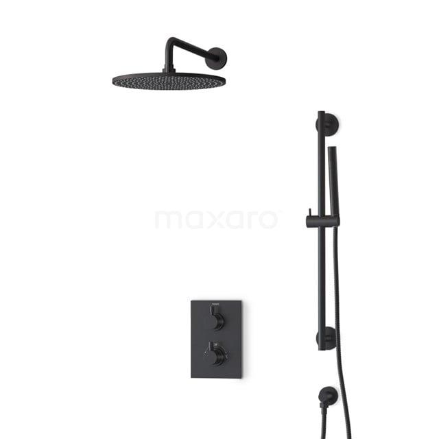 Inbouw Regendoucheset Radius Black, Thermostaatkraan, 30cm Hoofddouche, Zwart BIZ55-00133