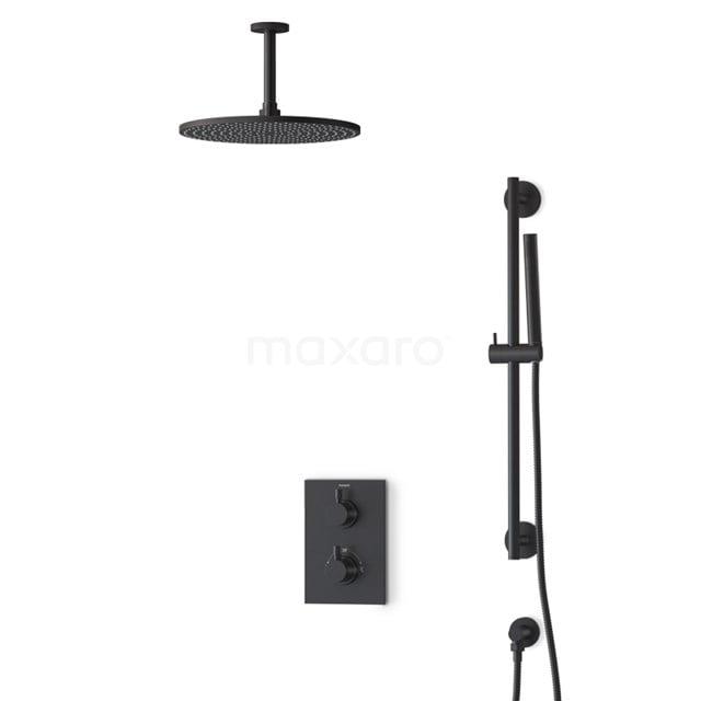 Inbouw Regendoucheset Radius Black, Thermostaatkraan, 30cm Hoofddouche, Zwart BIZ55-00136