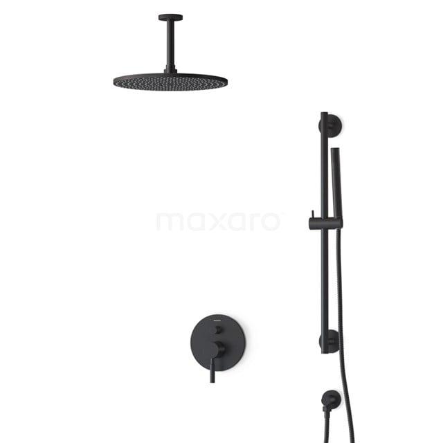 Inbouw Regendoucheset Radius Black, Eéngreeps Mengkraan, 30cm Hoofddouche, Zwart BIZ55-00138