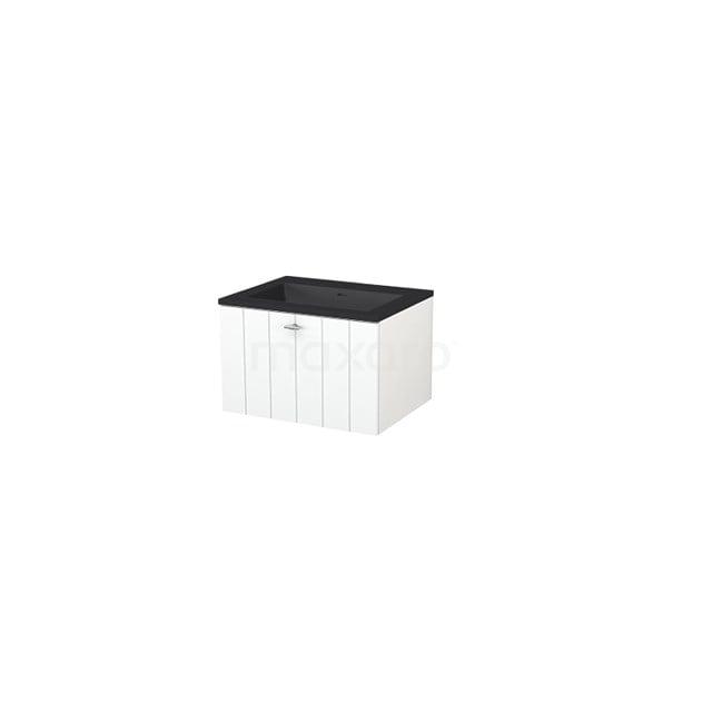 Badkamermeubel 60 cm Modulo+ Wit 1 Lade Lamel Wastafel Quartz BMP005658