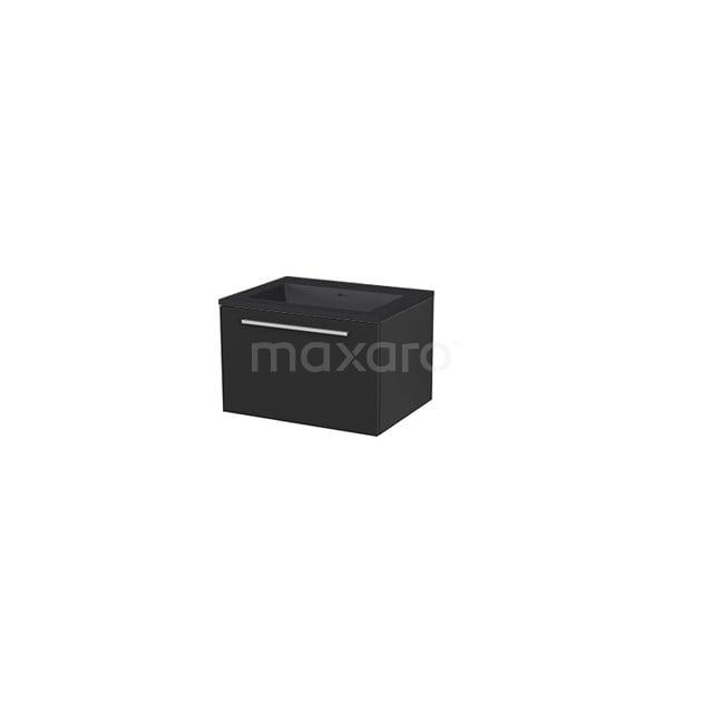Badkamermeubel 60 cm Modulo+ Zwart 1 Lade Vlak Wastafel Quartz BMP005671