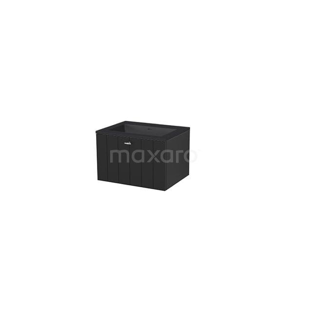 Badkamermeubel 60 cm Modulo+ Zwart 1 Lade Lamel Wastafel Quartz BMP005672