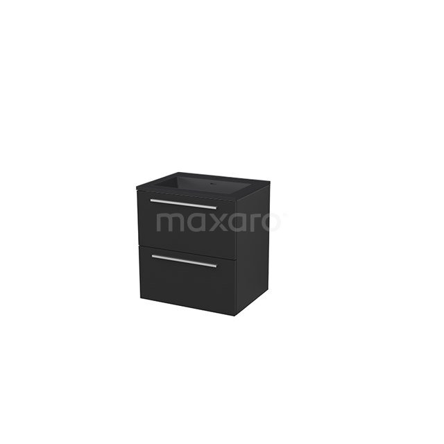 Badkamermeubel 60 cm Modulo+ Zwart 2 Lades Vlak Wastafel Quartz BMP005681