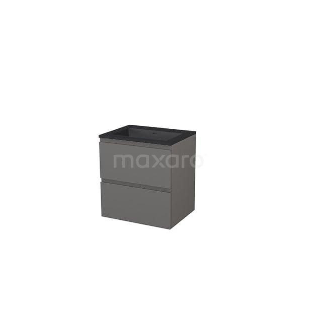 Badkamermeubel 60 cm Modulo+ Grijs 2 Lades Greeploos Wastafel Quartz BMP005688
