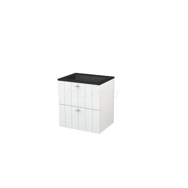 Badkamermeubel 60 cm Modulo+ Wit 2 Lades Lamel Wastafel Quartz BMP005690