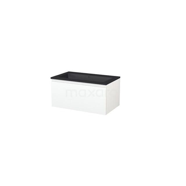 Badkamermeubel 80 cm Modulo+ Wit 1 Lade Greeploos Wastafel Quartz BMP005696