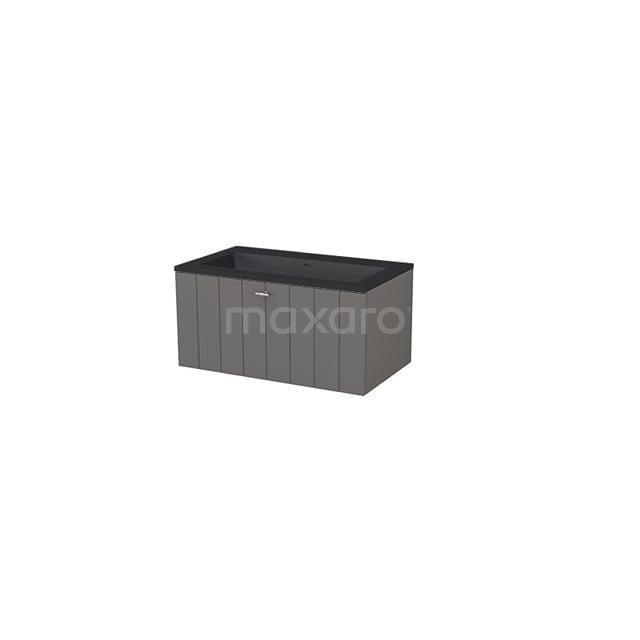 Badkamermeubel 80 cm Modulo+ Grijs 1 Lade Lamel Wastafel Quartz BMP005704