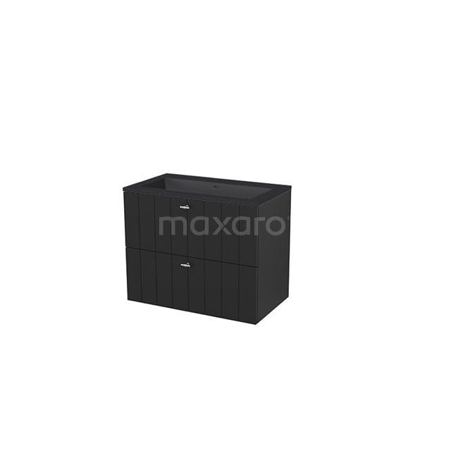 Badkamermeubel 80 cm Modulo+ Zwart 2 Lades Lamel Wastafel Quartz BMP005718