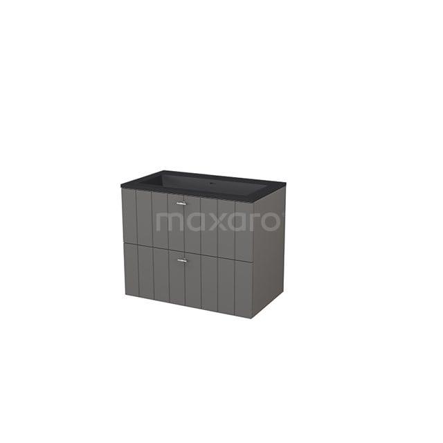 Badkamermeubel 80 cm Modulo+ Grijs 2 Lades Lamel Wastafel Quartz BMP005722