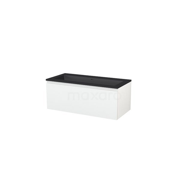 Badkamermeubel 100 cm Modulo+ Wit 1 Lade Greeploos Wastafel Quartz BMP005732