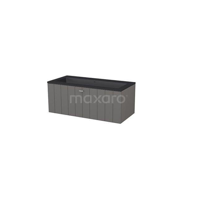 Badkamermeubel 100 cm Modulo+ Grijs 1 Lade Lamel Wastafel Quartz BMP005734
