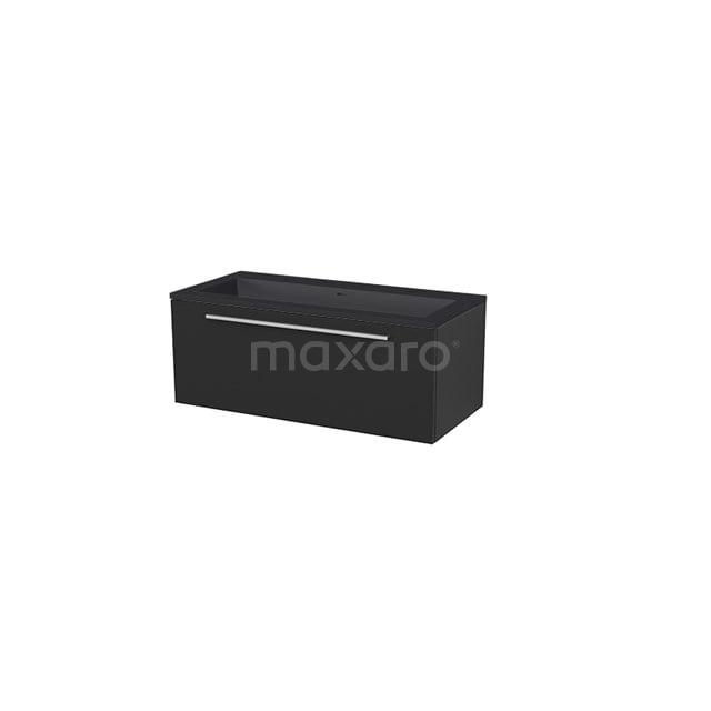 Badkamermeubel 100 cm Modulo+ Zwart 1 Lade Vlak Wastafel Quartz BMP005743