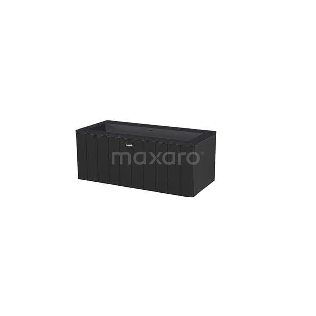 Badkamermeubel 100 cm Modulo+ Zwart 1 Lade Lamel Wastafel Quartz BMP005744
