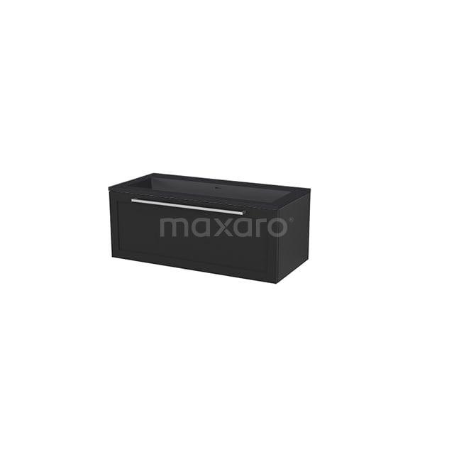 Badkamermeubel 100 cm Modulo+ Zwart 1 Lade Kader Wastafel Quartz BMP005745