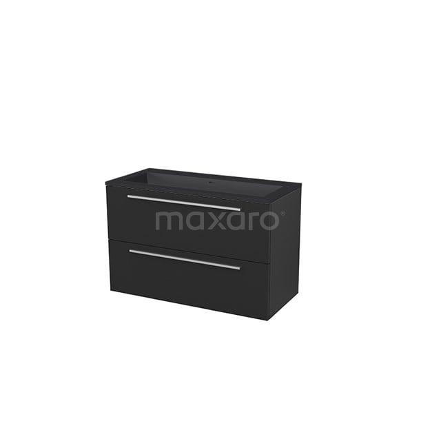 Badkamermeubel 100 cm Modulo+ Zwart 2 Lades Vlak Wastafel Quartz BMP005752