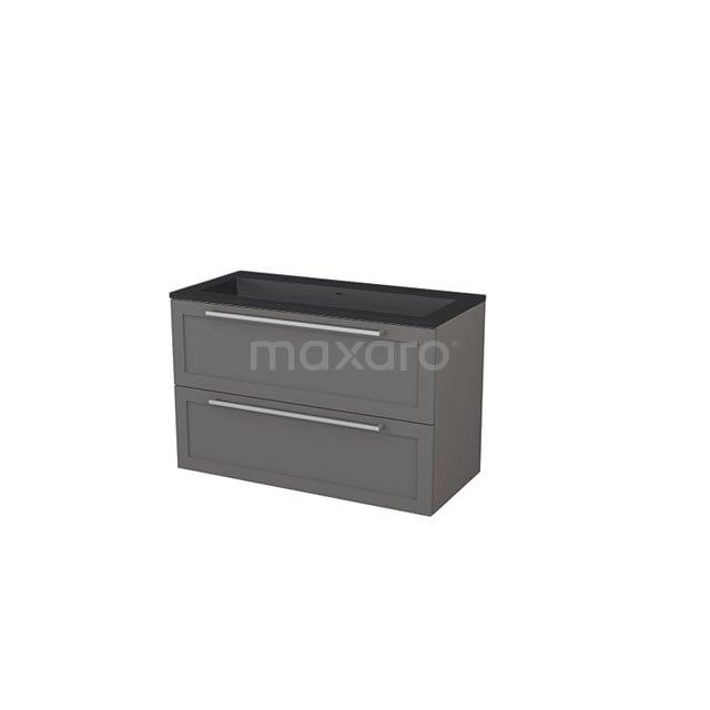 Badkamermeubel 100 cm Modulo+ Grijs 2 Lades Kader Wastafel Quartz BMP005757