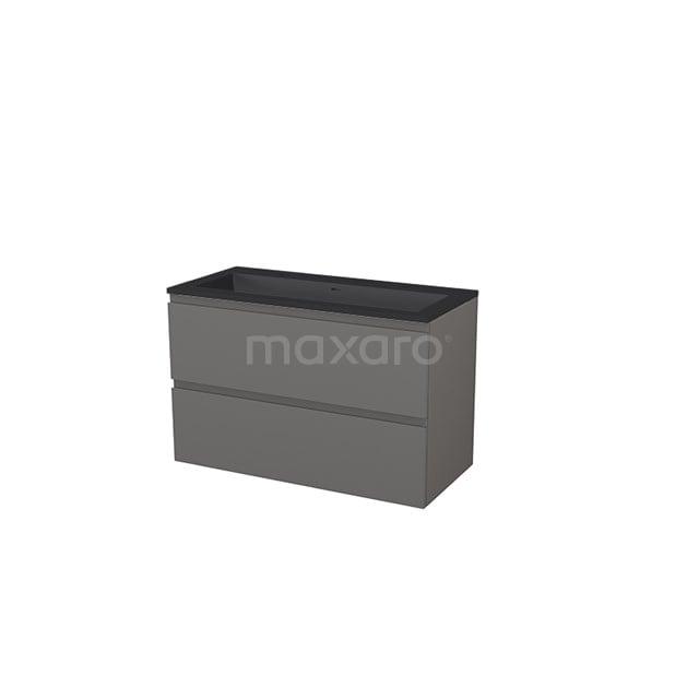 Badkamermeubel 100 cm Modulo+ Grijs 2 Lades Greeploos Wastafel Quartz BMP005758
