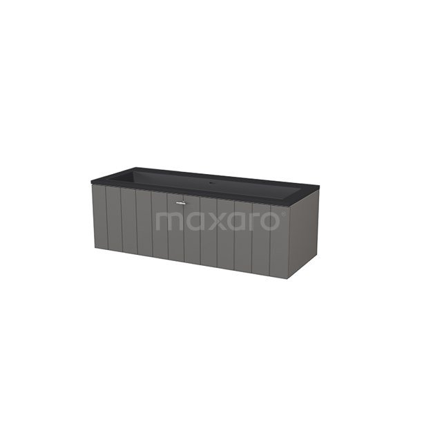 Badkamermeubel 120 cm Modulo+ Grijs 1 Lade Lamel Wastafel Quartz BMP005766