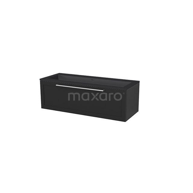 Badkamermeubel 120 cm Modulo+ Zwart 1 Lade Kader Wastafel Quartz BMP005780