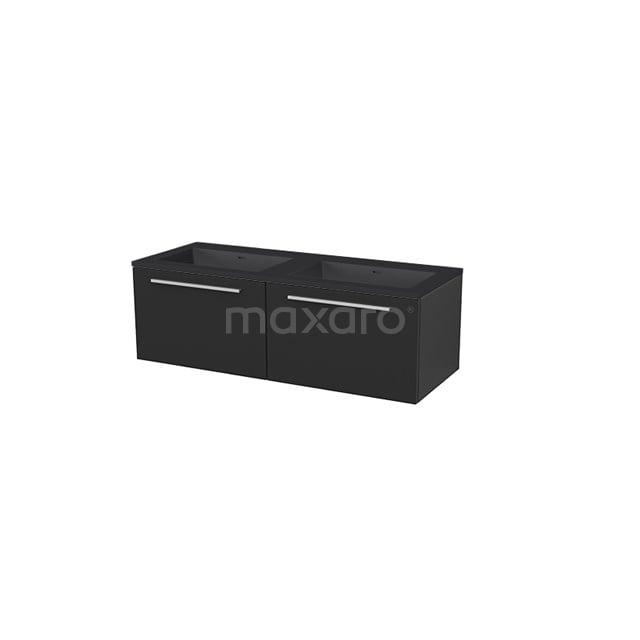 Badkamermeubel 120 cm Modulo+ Zwart 2 Lades Vlak Wastafel Quartz BMP005838
