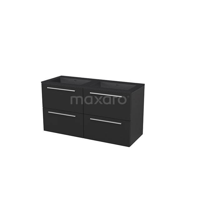 Badkamermeubel 120 cm Modulo+ Zwart 4 Lades Vlak Wastafel Quartz BMP005869