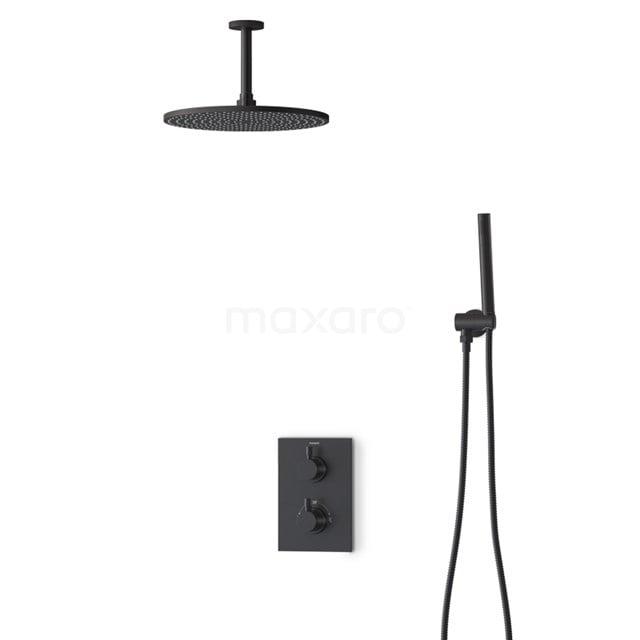 Inbouw Regendoucheset Radius Black, Thermostaatkraan, 30cm Hoofddouche, Zwart BIZ55-00124