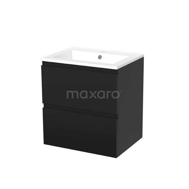 Badkamermeubel 60cm Modulo Mat Zwart 2 lades Greeploos Wastafel Mineraalmarmer BMW17-00031