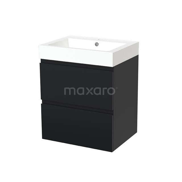 Badkamermeubel 60cm Modulo Mat Zwart 2 lades Greeploos Wastafel Mineraalmarmer BMW17-00032