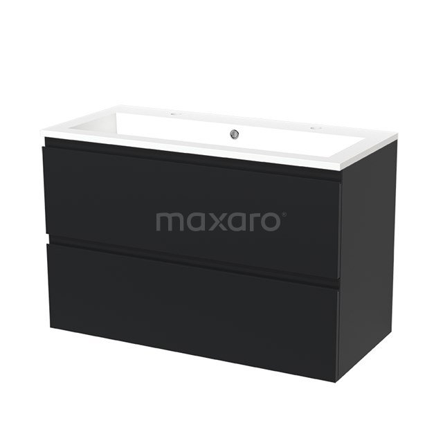 Badkamermeubel 100cm Modulo Mat Zwart 2 lades Greeploos Wastafel Mineraalmarmer BMW17-00526
