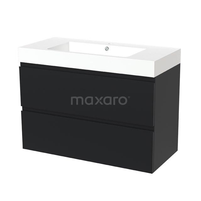 Badkamermeubel 100cm Modulo Mat Zwart 2 lades Greeploos Wastafel Mineraalmarmer BMW17-00527