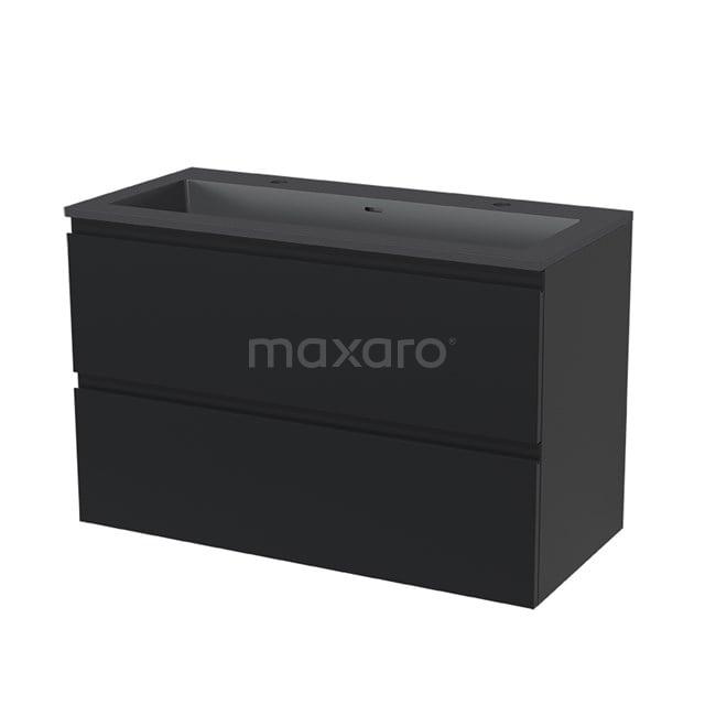 Badkamermeubel 100cm Modulo Mat Zwart 2 lades Greeploos Wastafel Quartz BMW17-00528