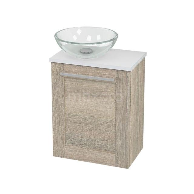 Toiletmeubel met Waskom Glas Modulo+ Pico Eiken 41cm BMC000421