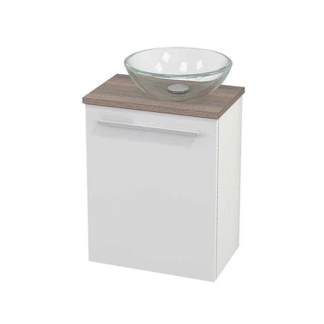 Toiletmeubel met Waskom Glas Modulo+ Pico Hoogglans Wit 41cm BMC000456