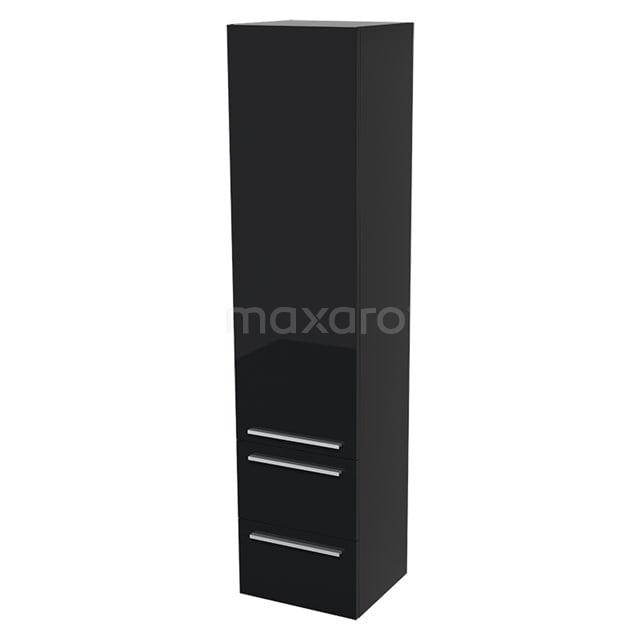 Badkamerkast Lungo 170x40cm Hoogglans zwart 1 Deur Vlak BKK10-00007