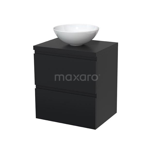 Badkamermeubel voor Waskom 60cm Modulo Plato Mat Zwart 2 Lades Greeploos  BMK17-00003