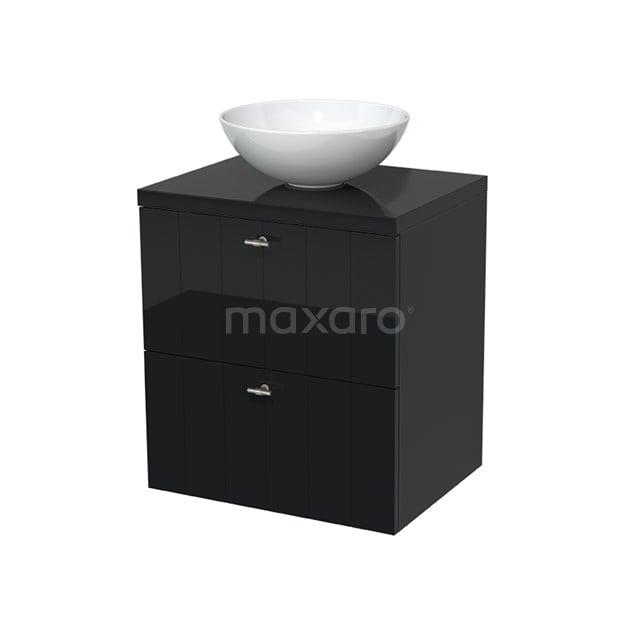 Badkamermeubel voor Waskom 60cm Modulo Plato Hoogglans Zwart 2 Lades Lamel  BMK17-00008