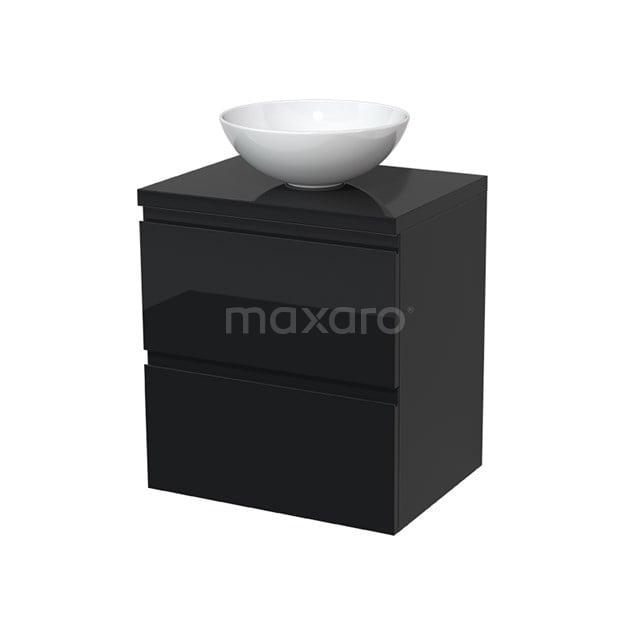 Badkamermeubel voor Waskom 60cm Modulo Plato Hoogglans Zwart 2 Lades Greeploos  BMK17-00009