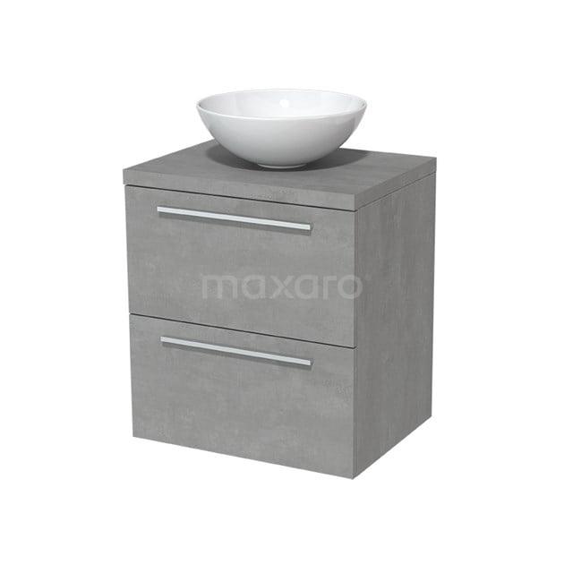 Badkamermeubel voor Waskom 60cm Modulo Plato Lichtgrijs Beton 2 Lades Vlak  BMK17-00020